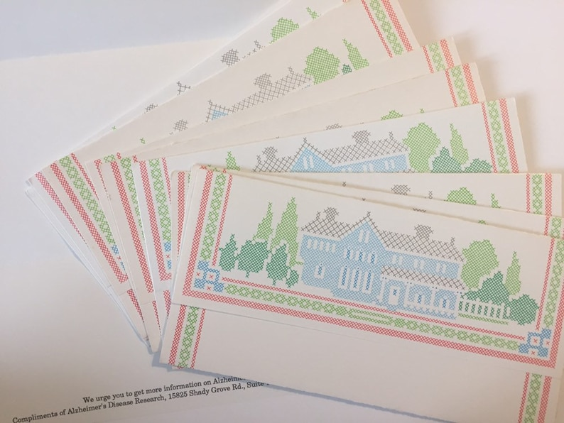 10 Vintage Tri Fold Stationery Sheet Set - Country Cross Stitch - Letter  Writers Pen Pals