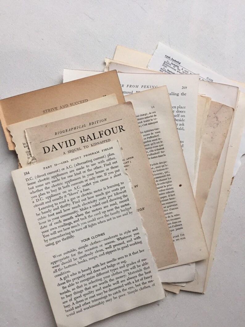 Junk journal smash book assemblage mixed media paper table prop Vintage Book Page Bundle 100 pages