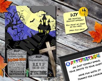 halloween invitation haunted poltergeist printable invite etsy