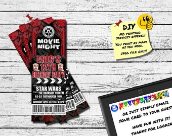 MOVIE TICKET BIRTHDAY Invitation Printable Invite Emailable Evite Cool For A Movie Night