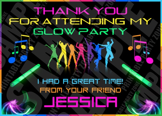 glow party thank you card printable invite emailable