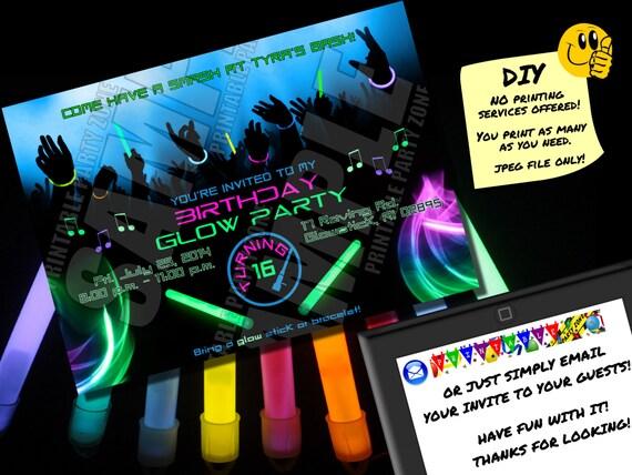 birthday glow party invitation printable invite emailable etsy
