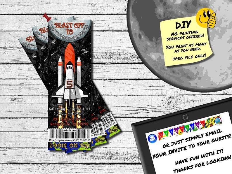 a23448c5b2973 TRANSBORDADOR espacial invitación de Ticket Ticket de