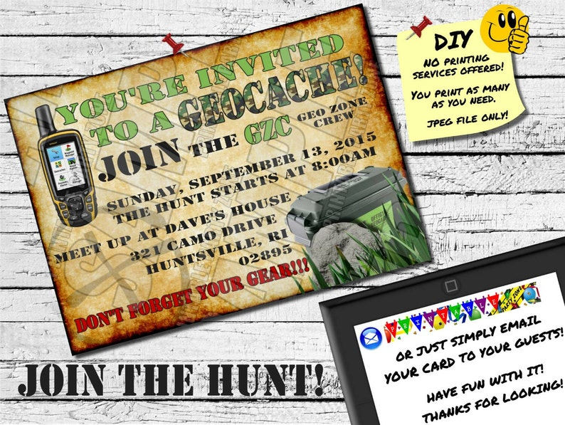 photo about Official Geocache Printable titled GEOCACHE INVITATION, Printable Invite, Emailable Invite (Evite) Great Scavenger Hunt Invite!!!