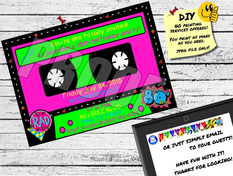 80 S Cassette Tape Invitation Emailable Invite Evite Etsy