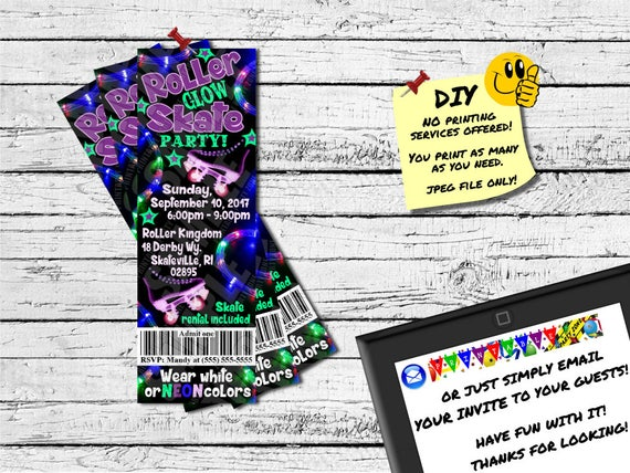 ROLLER SKATE GLOW Party Ticket InvitationPrintable Etsy - Emailable rental application