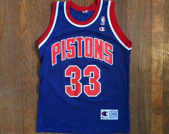 e1fd0e27e04 Vintage Detroit Pistons GRANT HILL #33 Champion NBA Blue Basketball Black Jersey  Size Small 14-16 Jordan Pippen Barkley