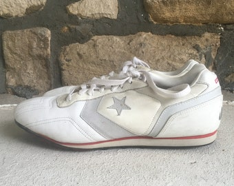 9f36a75c195e Vintage 1980s Mens CONVERSE One Star White Leather Low Top CLEATS Sneakers  Shoes Size 13 Made In The USA Chuck Taylor Jack Purcell