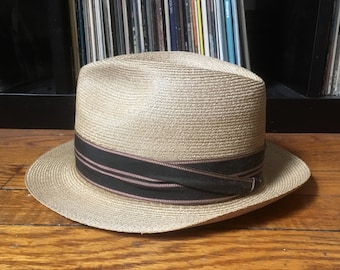 ecf95372076 Vintage STETSON Genuine PANAMA Straw FEDORA Hat Size 6 7/8 Small Western  Cowboy Summer Hipster Open Road