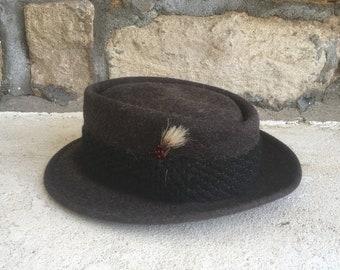 b7b1c944 Vintage 1950s PENNEYS MARATHON Charcoal Grey Fuzzy Fur Felt Pork Pie FEDORA  Hat Size 7 Stetson Workwear