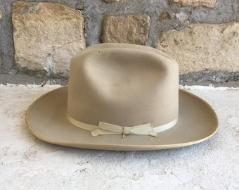 c0101055057 Vintage Stetson OPEN ROAD Style 3X Beaver Tan Fur Felt Fedora Cowboy HAT  Size 7 1 8 Western Silverbelly Hipster