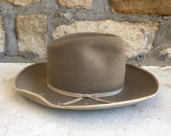 381e9e8e85e192 Vintage 1940s PILGRIM Open Road Style Tall Grey Fur Felt Western HAT Size 6  7/8 Fedora Cowboy Stetson Workwear