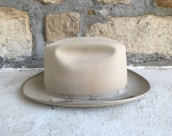 Vintage 1960s Knox OPEN ROAD Style Tan Fur Felt Fedora Hat Size 6 7 8  Western Cowboy Stetson LBJ 1ffb395f22c0