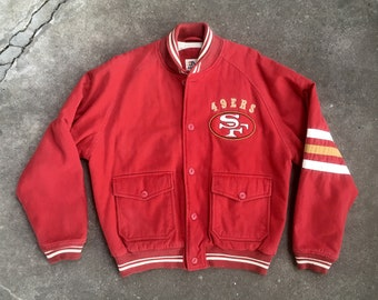 Vintage 1990s Mirage San Fransisco 49ers NFL Red Cotton Zip Up Varsity JACKET  Size Large Sports Basketball Starter Football Letterman 26b61080e