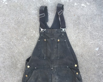 080412ff6c Vintage 1990s CARHARTT Super Distressed Black Canvas Lined Work Bib Overalls  35x30 Medium Levis Lee Wrangler Workwear Jeans