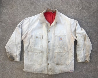 232adb716c2 Vintage Mens 1980s CARHARTT Duck Canvas Nylon Lined Made In USA Super  Distressed Work JACKET Chore Coat Size Extra Large 46 Hipster Levis
