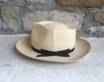 b20644c9bde70 Vintage 1960s Stetson OPEN ROAD Style Genuine PANAMA Straw Fedora Hat Size  6 7 8 Small Western Cowboy Hipster