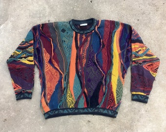 Vintage 1990s Authentic Coogi Mosaic Multi Color Textured Cotton Sweater Size Extra Large Biggie Hip Hop Swag Vaporwave Geometric Abstract