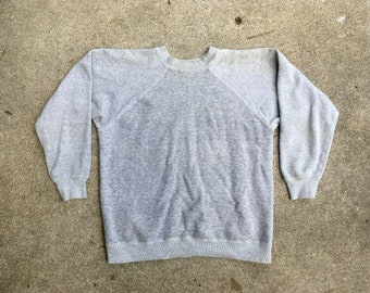 12d012a6 Vintage 1960s Jockey HEATHER GREY 100% Cotton Pullover Crewneck SWEATSHIRT  Size Medium Large Hipster Champion