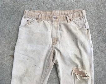 3494ea94 Vintage DICKIES Duck Canvas Super Distressed & Destroyed Tan Khaki  Carpenter Work PANTS Size 34 x 29 Levis Lee Wrangler Carhartt Workwear