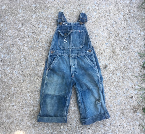 Vintage 1940s Childrens Dark INDIGO Denim Super Di