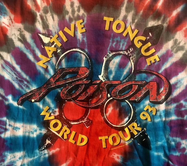 Vintage 1990s POISON Native Tongue 1993 Tour Tie Dye Concert T-SHIRT Size  Extra Large Rush Led Zeppelin Van Halen