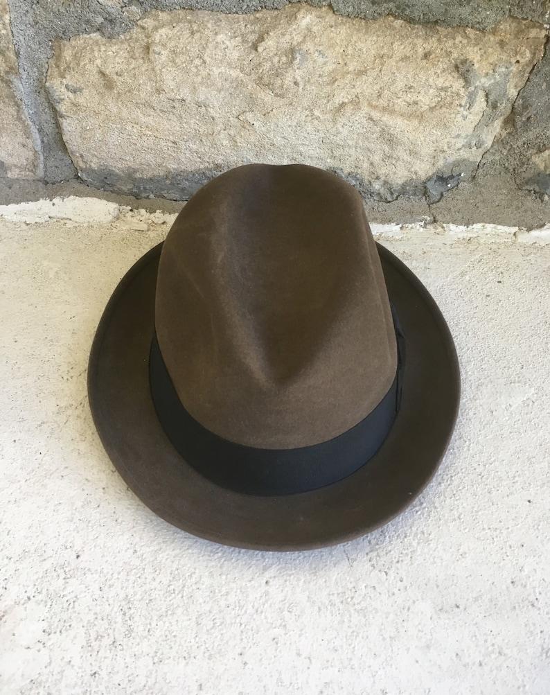 3129e4d5e Vintage 1960s BOND 'Executive Group' Brownish Grey Fur Felt FEDORA Hat Size  7 1/4 Medium Stetson Open Road Hipster