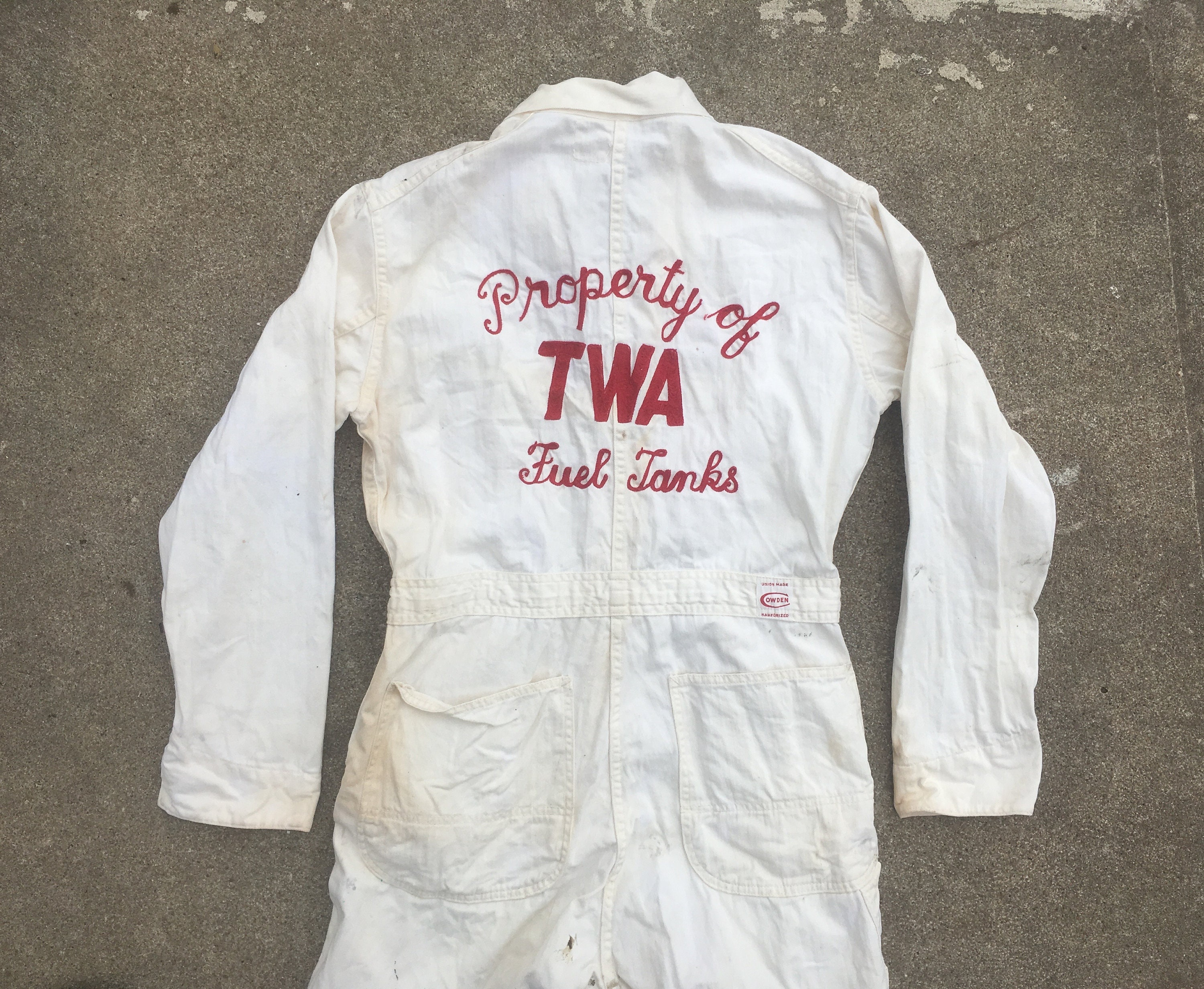1940s Mens Ties | Wide Ties & Painted Ties Vintage 1940S 1950S Cowden Twa Sanforized Hbt White Cotton Chain Stitch Work Coveralls Overalls 2 33x31 Trans World Airways Advertising $66.50 AT vintagedancer.com