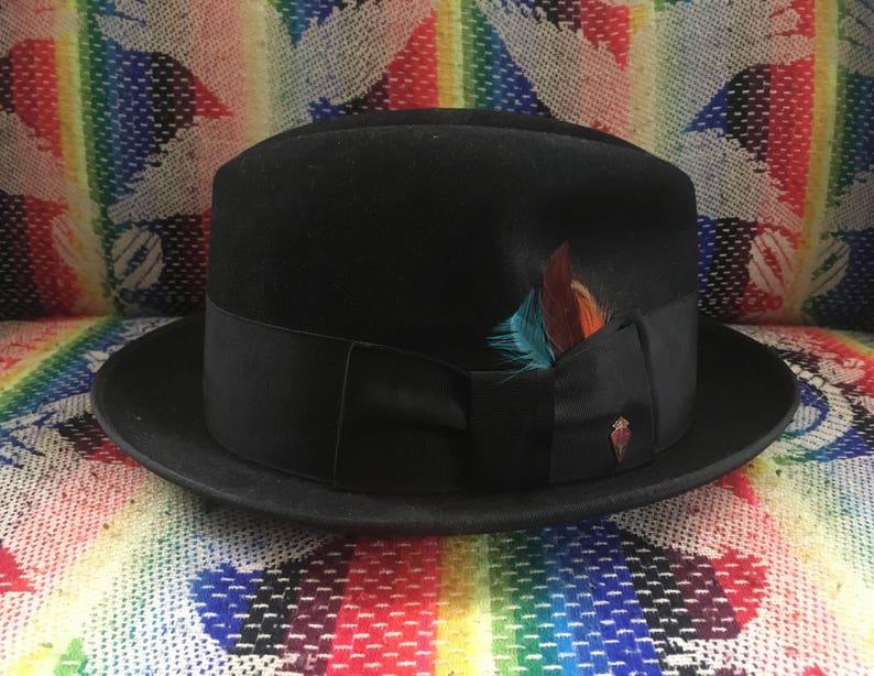 aa1584186d612 Vintage 1960s Mens PENNEYS Marathon Black Fur Felt FEDORA Hat | Etsy