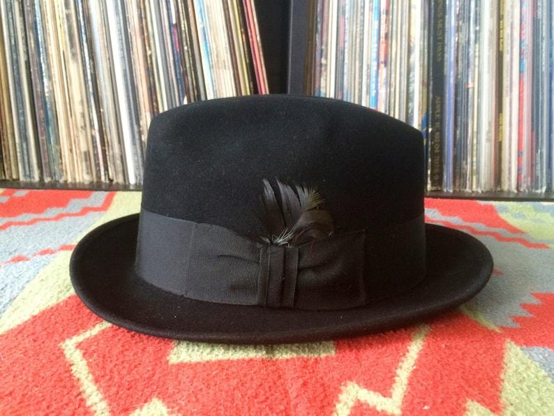 98a20288 Vintage 1960s STEVENS Jet Black 3X Beaver Fur Felt FEDORA Hat | Etsy