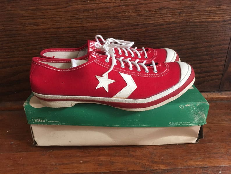 e30bd4a2946 Vintage 1960s Mens CONVERSE All Star Track Red Canvas Low Top