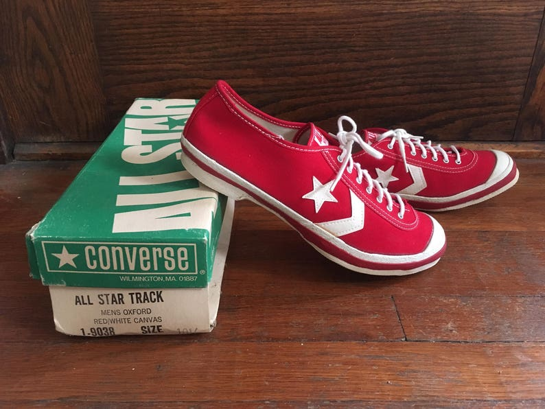 3f2abc597c62 Vintage 1960s Mens CONVERSE All Star Track Red Canvas Low Top