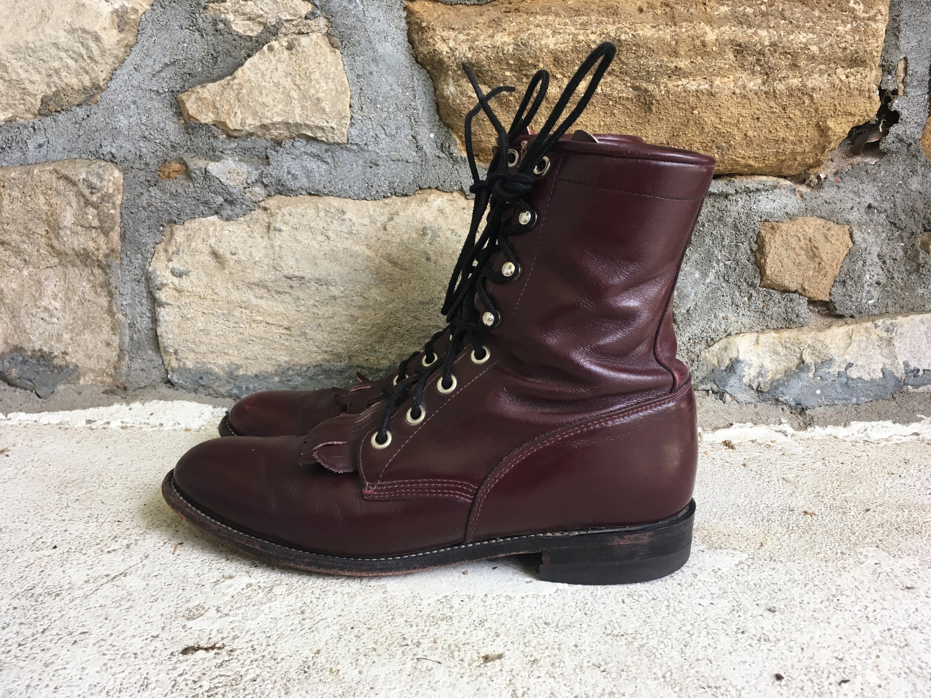 dfe5e4c89aeda Vintage Womens JUSTIN Maroon Red Leather Lace Up ROPER Cowboy BOOTS Size  7.5 8 Granny Hipster Western Justin Work