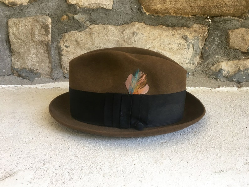 c9614ea594b5a Vintage 1960s Mens CHAMP 'Downtowner Brown Fur Felt Velour | Etsy