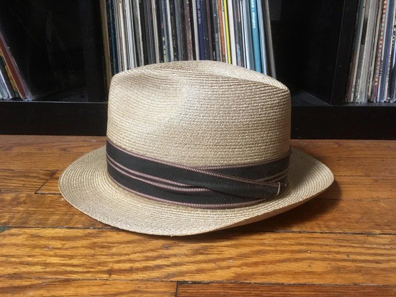 d6ae5595da471 Vintage STETSON Genuine PANAMA Straw FEDORA Hat Size 6 7 8
