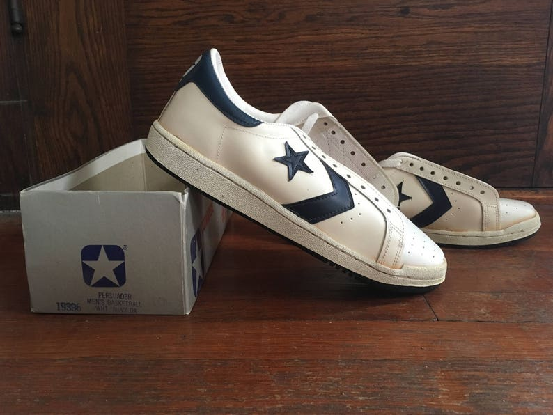 low priced 386b8 55b41 Vintage 1970s 1980s Mens CONVERSE One Star White   Blue   Etsy