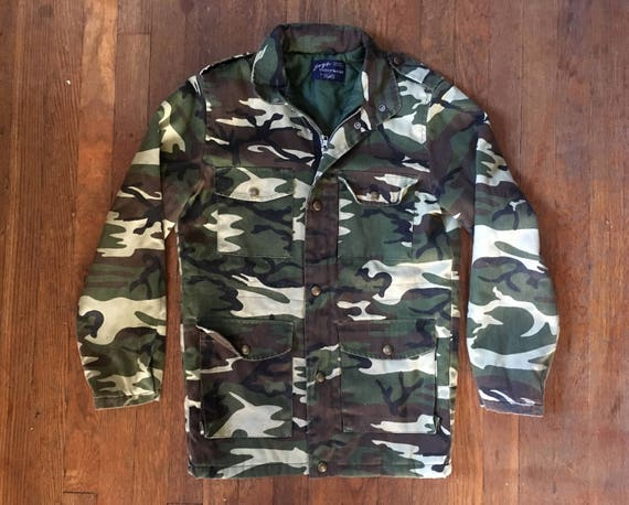 Vintage 70s SEARS Camouflage Button Up Hunting Jacket Size Extra Small fFkmaIGEfW