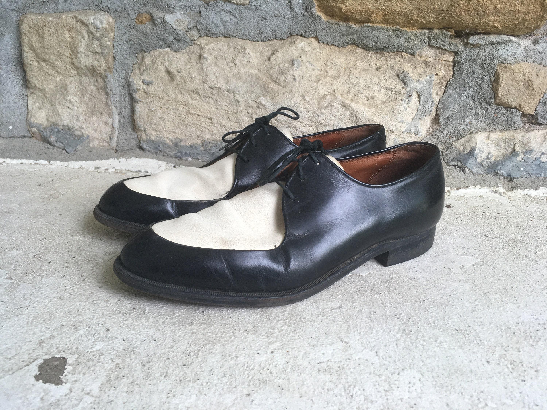 1950s Men's Ties, Bow Ties – Vintage, Skinny, Knit Vintage 1950S 1960S Mens Portage Black  White Split Toe Oxford Dress Shoes Size 8.5 9 Rockabilly Two Tone Hipster $175.00 AT vintagedancer.com