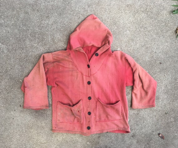 Vintage 1940s 1950s Super DISTRESSED Red Cotton Bu