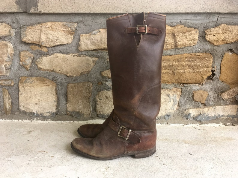 Vintage 1940s 1950s Mens Distressed Brown Leather Harness Strap Tall Biker ENGINEER BOOTS Size 7.5 8 Motorcycle Red Wing Chippewa