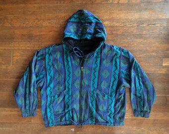 Vintage 1990s TRIBAL Aztec Print Turquoise Zip Up Hooded JACKET Size Extra Large Levis Hipster Vaporwave Festival Hoodie RSrw7