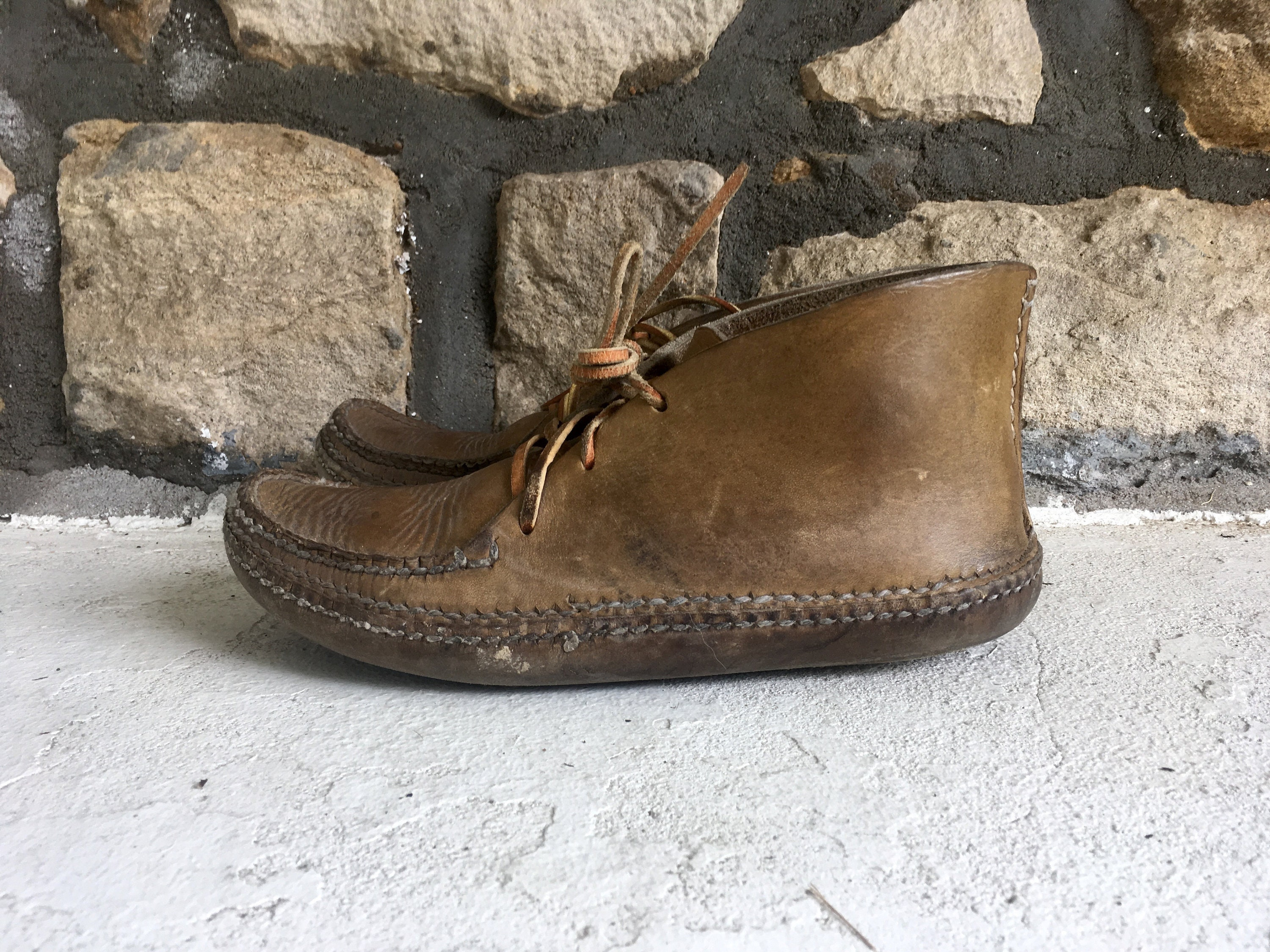 Vintage Mens Made 1960s 1970s Custom Hand Made Mens Leather Hippie MOCCASIN BOOTS Shoes Size 9 9.5 Boho Southwest 8cb6b4