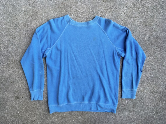 Vintage 1960s Light Blue GUSSETED Distressed Cotto