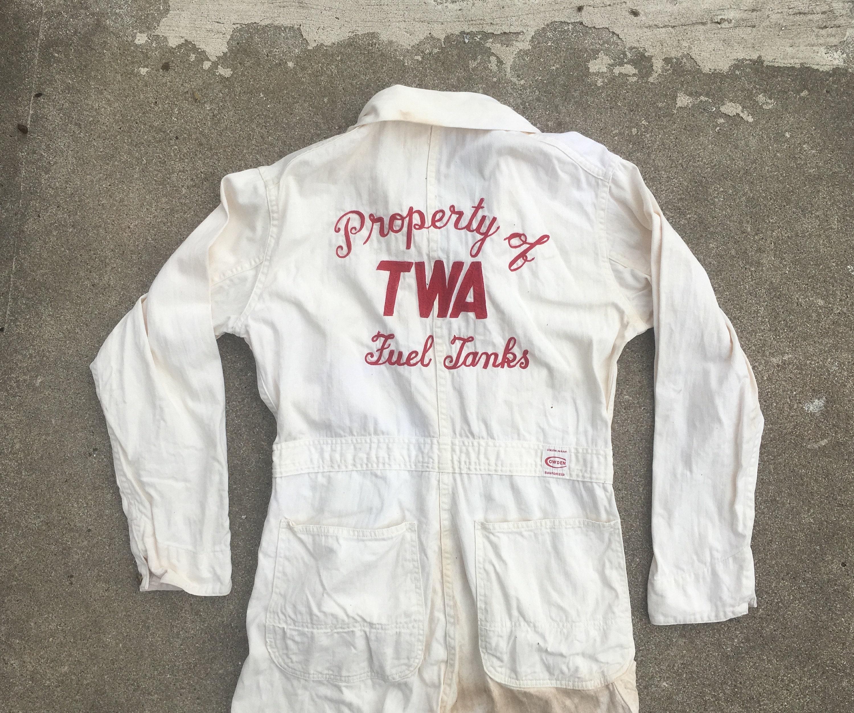 1940s Mens Ties | Wide Ties & Painted Ties Vintage 1940S 1950S Cowden Twa Sanforized Hbt White Cotton Chain Stitch Work Coveralls Overalls 33x31 Trans World Airways Denim Advertising $66.50 AT vintagedancer.com