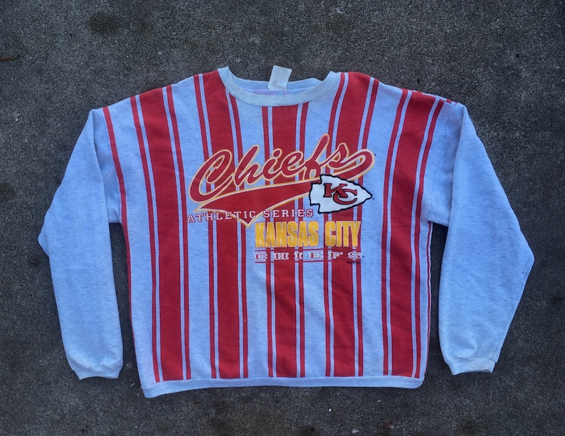 Vintage 1990s Cliff Engle NFL Kansas City CHIEFS All Over Print Striped Crew Neck SWEATSHIRT Size Extra Large Football Starter Swag Hipster
