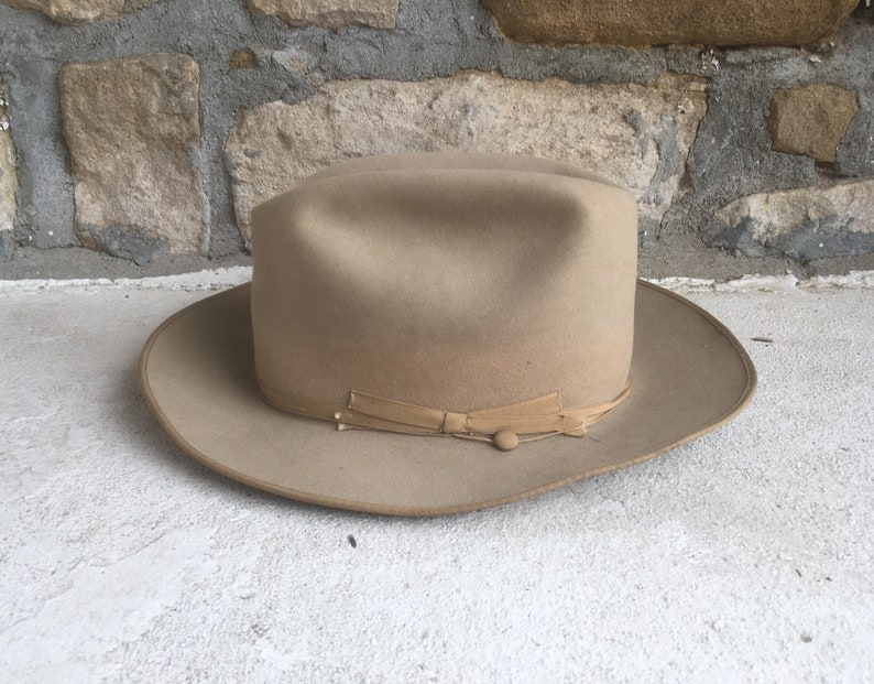 4823055662e Vintage 1960s Stetson OPEN ROAD 3X Beaver Tan Long Oval Tan