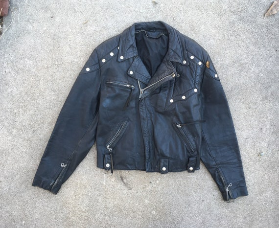 Vintage 1970s SKULL Button Custom Black Leather Bi