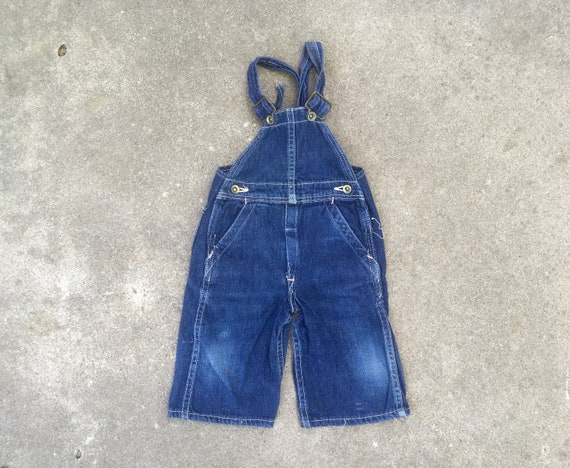 Vintage 1940s Infant Toddler Dark INDIGO Denim OVE