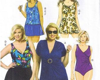 1537392008db2 Easy to Sew 1-Piece Swimsuit Top Cover Up Briefs Skirt Leotard Swimdress  Swimwear Butterick 5795 Sewing Pattern Womens Plus Size 18 20 22 24