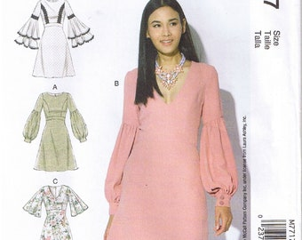 d7415eff457e Laura Ashley Fitted Lined Dress With Bell Flutter or Bubble Sleeves   Round  or V Neck McCalls 7717 Sewing Pattern Misses Size 6 8 10 12 14